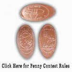 Three pennies with different images: one bathtub dirigible, one clockwork cat, one lock