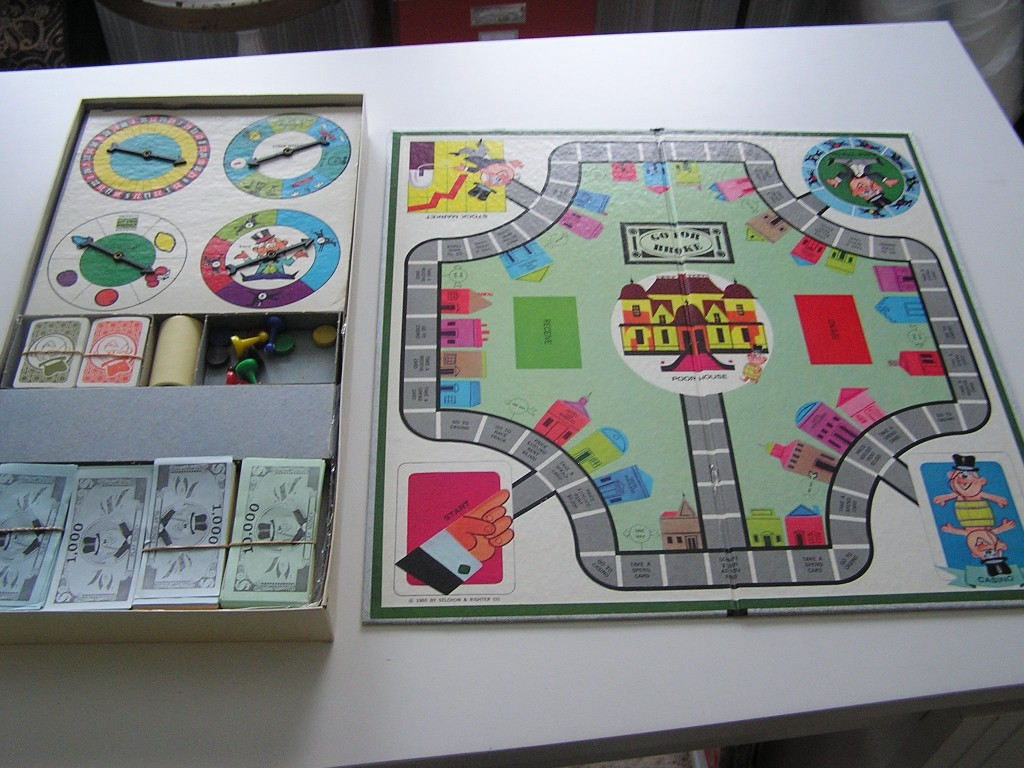 1965 Go For Broke Board Game Playing Board and Pieces