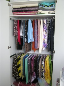pant hanger for fabric storage in stand alone closet