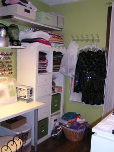 ikea expedit shelf with coat rack craft room storage