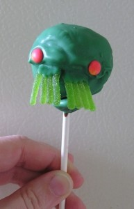 cakepop decorated like elder god cuthulhu