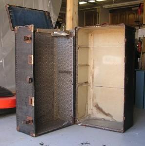 old steamer wardrobe travel trunk missing its inside parts