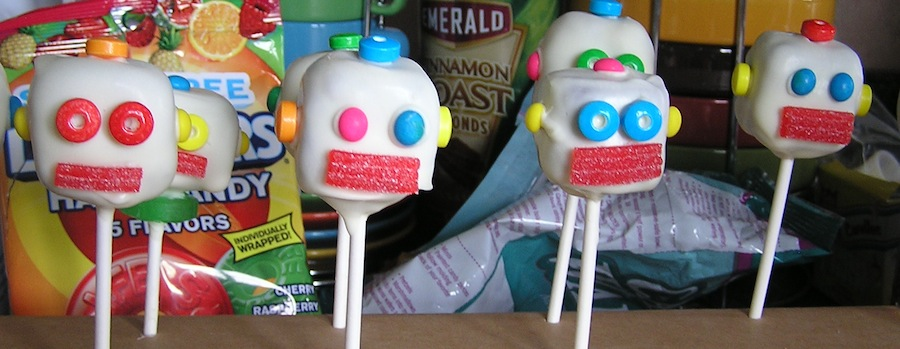 cakepops decorated as robots