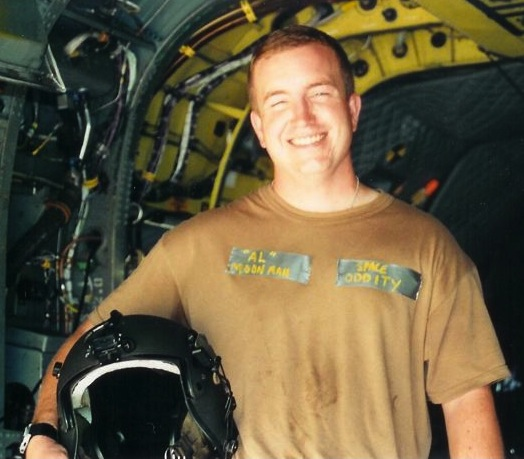 SSG Shamus Goare on an MH-47 Chinook