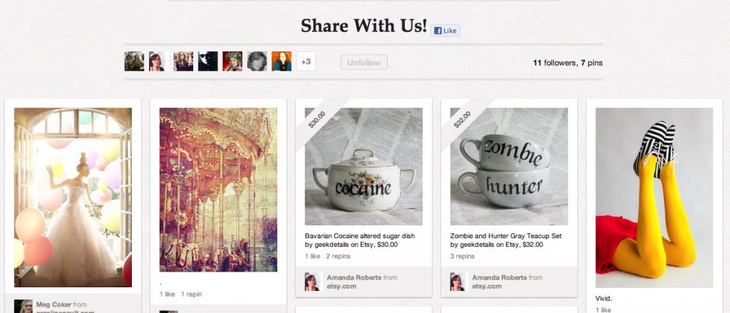 Screenshot of our Share With Us Pinterest Board