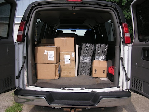 Frenzy Universe Van loaded with Fireside Games Stuff for GenCon