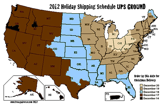Order By Dates for Christmas Delivery via UPS Ground for 2012