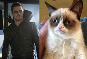 Green Arrow looks like Angry Cat Meme